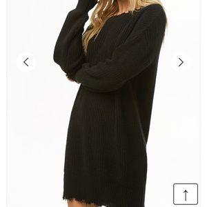 Black distressed sweater dress